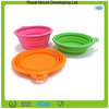 Collapsible portable silicone dog pet bowl with a hook