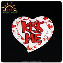 Customised Cheap Logo Printed LED Badge,Led Flashing Badge for valentine's day