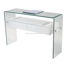 glass frame computer desks with 2 drawers---white high gloss