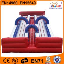 China WINSUN UL GS PVC 10m long 6m high double lane slip giant adult inflatable slide
