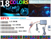 8PC Music Controller Motorcycle LED Lighting Strips Kit Engine-Bay Flexible Bright 12V Powered
