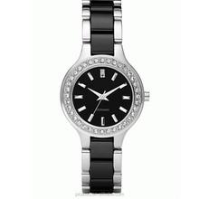 Black Silver Ceramic Quartz Ladies Bracelet Watch N8138
