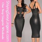 de alta qualidade por atacado black falso couro malha acento novo modelo de vestidos vestidos