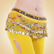 The new M-type wave belly dance waist chain diamond Beads exclusive design practice performance belt wholesale