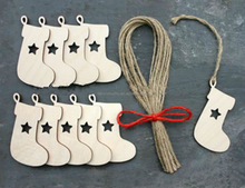 Custom Wooden Christmas stocking hanging ornaments with rope