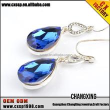 Latest custom fashion ocean blue crystal chandelier drop dangle earrings