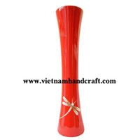 Quality eco-friendly traditionally hand finished vietnamese red lacquer bamboo home decorative products with eggshell dragonfly