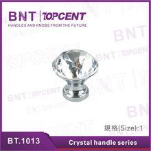 Matt or Chrome plate crystal furniture handle knob for cupboard