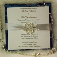 silk wrapped pad crystal buckle with ribbon wedding invitation cards