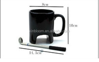 unique creative golf modeling ceramic coffee mug with brassie spoon,promotional gift cup