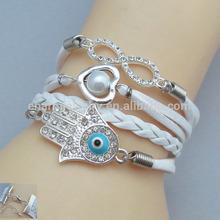 corea 2014 nuevo diseño de perlas amor trenzado de cuero hecho a mano pulsera de la amistad fb061