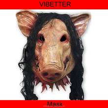 MK-231 full face pig mask with hair Latex Realistic Pig Mask Full Overhead Rubber/For Cosplay,Party,Costume,Carnival,Halloween