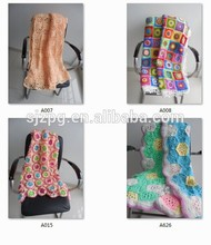 2015 crochet cotton blankets , handmade cotton woven baby blanket