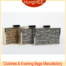 Handmade faux horse hair and crystal evening bag rhinestone evening clutches HH-CR1144