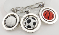 Wholesale and OEM stock zinc alloy Rotate football/basketball key chain