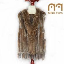 Total color for rex rabbit gilet fur vest with raccoon fur collar