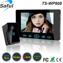 """2014 tamper alarm rainproof HD TS-WP 908 9""""TFT-LCD touch button capture taking photos solar charger door ring wireless"""