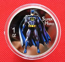 Superheroes Batman American Cartoon Colored Commemorative Round Collectible Coin
