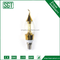 led candle bulb light C37 with Golden body, good use for chandelier fixture