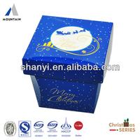 Separated Lid&Bottom Blue Christmas Cardboard Packaging