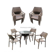 2016 New Outdoor Resin Wicker Stackable coffee shop tables and chairs set
