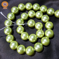 "loose grass green 4-20mm 16""imitation pearl beads,perfect round south sea shell pearl strands"