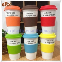 OEM 8oz 12oz Eco-Friendly reusable customized logo PP Plastic Coffee Cup With Lid,Plastic Coffee Cup With silicone band