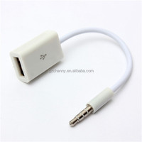 2015 New Car MP3 AUX 3.5mm Male Audio Plug to Female USB 2.0 Converter charger Cable Cord White