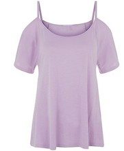 special item open shoulder and flared sleeves purple women t shirt design