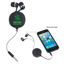 3.5mm audio jack plastic retractable mobile earphone reel cable