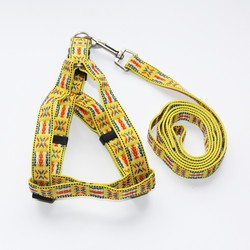 Limited Quantity Yellow Color Flag Dog Harness and Leash 2 CM Drop Shipping Accepted QS030