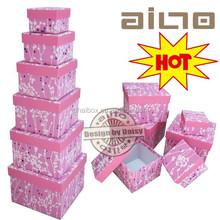 new design fabric pink flowers wedding favor gift box