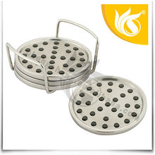 5pcs Stainless Steel Round Tin Cup Holder Coaster Set