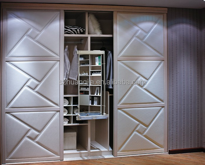 Wood Laminated Wooden Sliding Door Bedroom Wardrobe Lockable Closet