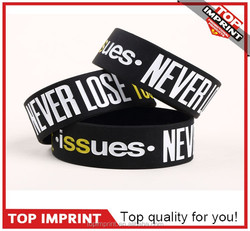 Hot Sale! No Minimum Custom Debossed and Ink Filled 1 Inch Silicone Wristbands