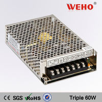 CE approved 60W Triple output switching power supply ac to dc power suply