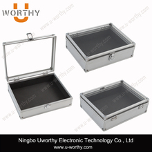 Wholesale Large Travel Watch Jewelry Box Case Aluminium Display with Handle Clear Acrylic Lid