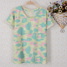 wholesale fancy and popular camouflage digital printing t shirt for lady oem service