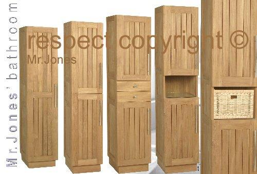 Alicante colonne armoires teck bois meubles de salle de for Colonne de salle de bain en bois