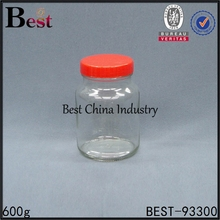 600g round shaped glass jam jar and lid plastic
