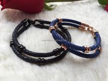 2pcs Braided Leather Rope Brown & Black Unisex Womens Mens Surfer Bracelet Wristband