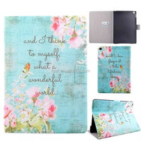 For iPad Air 2 Fashion Coloured Flower Pattern Leather Stand Case with Card Slot