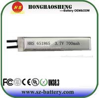 New design powerful 651865 lipo battery rechargeable 3.7v 700mah li-ion battery for E-toys
