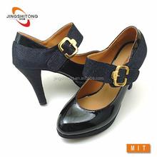 Black fashion pumps women dress shoes adjustable strap buckle shoes