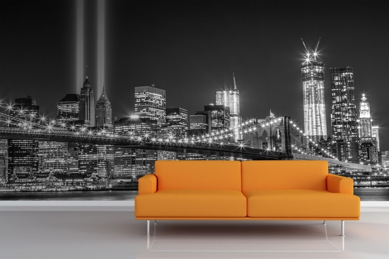 City-Grayscale-NY-Trade-Centre-Lights-Wall-Mural-Room