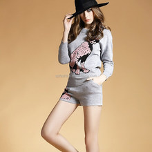 Top fashioned women wool pullover fancy ladies sweater dog bambi jacquard western suit