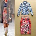 De calidad superior nuevo ropa de alta moda British Women Rose de la impresión Floral blusas + de la historieta Animal Print Bodycon Pencil Skirt ( 1 Unidades )