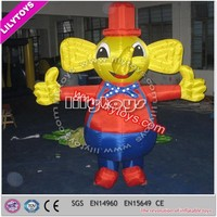 Professionl plato pvc used inflatable model with CE/moving cartoon elephant