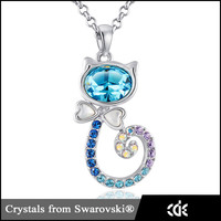 Crystals from Swarovski Cat Necklace Design Saudi Gold Jewelry