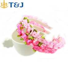 Hot Sale Kids Baby Ribbon Rose Flowers Plastic Headband Wholesale Hair Accessories for Girls